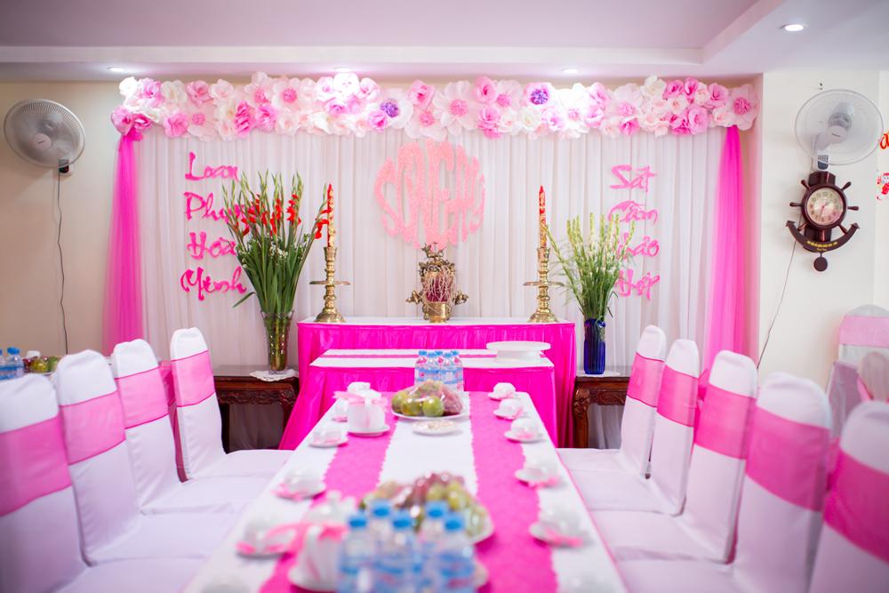 Trang trí cưới hỏi tông màu hồng